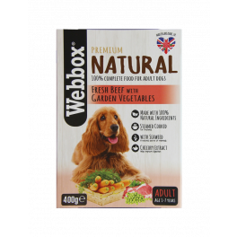 Webbox Natural Beef and Veg Wet Dog Food Pouches 400g