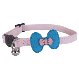 Rosewood Designer Pink and Teal Bow Cat Collar