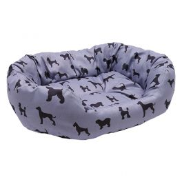 Rosewood Padded Dogs Print Grey Oval Dog Bed