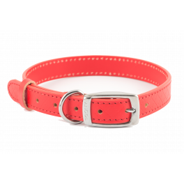 Ancol Heritage Leather Sewn Dog Collar Red