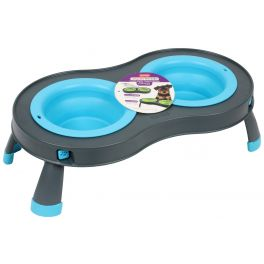 Dexas Blue Small Double Elevated Dog Feeder
