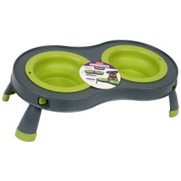 Dexas Green Small Double Elevated Dog Feeder