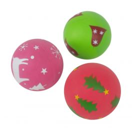 Rosewood Christmas Festive Rubber Ball Dog Toy