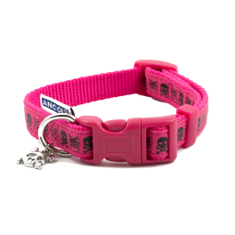 Ancol Pink Skull Dog Collar