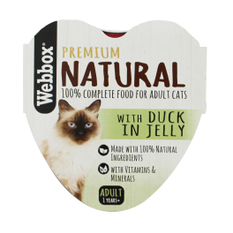Webbox Natural Heart Alu Tray Cat Food Duck in Jelly 85g