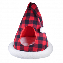 Rosewood Christmas Buffalo Check Santa Hat Bed for Cats & Rabbits