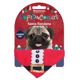 Rosewood Christmas Light Up Santa Dog Bandana