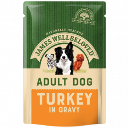 James Wellbeloved Adult Dog Wet Food Pouches Turkey and Rice in Gravy