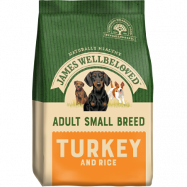 James Wellbeloved Turkey & Rice Small Breed Adult Dog Food 1.5kg