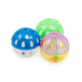 Ancol Plastic Balls & Bell Cat Toy 3 Pack
