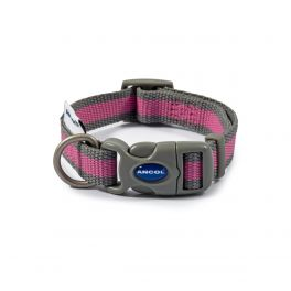 Ancol Pink & Grey Stripe Made From Dog Collar