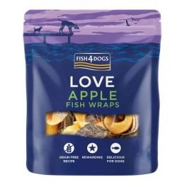Fish4Dogs Love Apple Fish Wraps Dog Treats 90g
