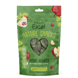 Burgess Excel Nature Snacks Herby Hearts Small Animal Treats 60g