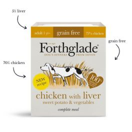 Forthglade Grain Free Wet Adult Dog Food with Chicken, Liver, Sweet Potato & Vegetables 395g