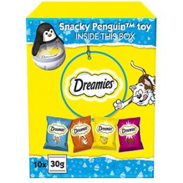 Dreamies Christmas Cat Treats Gift Box with Snacky Penguin Toy 300g