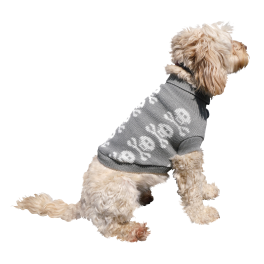 Rosewood Halloween Novelty Grey Skulls Dog Jumper