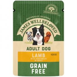 James Wellbeloved Grain Free Lamb Adult Wet Dog Food Pouches x12