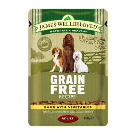James Wellbeloved Lamb Adult Grain Free Wet Dog Food Pouches x12