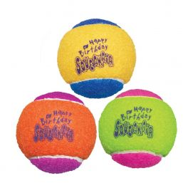 KONG Squeakair Happy Birthday Tennis Balls Dog Toy 3 Pack