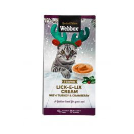 Webbox Christmas Lick-E-Lix Cream with Turkey & Cranberry Cat Treat 5x15g
