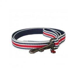 Joules Red & Navy Striped Dog Lead