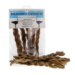 JR Braided Ostrich Tendon Natural Dog Treats 5 Pack