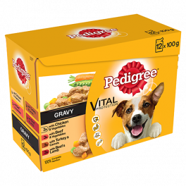 Pedigree Mixed Variety Wet Adult Dog Food Pouches in Gravy 12 x 100g