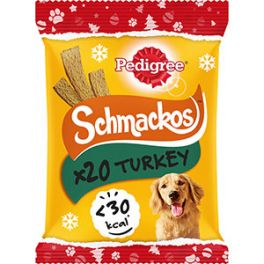 Pedigree Christmas Turkey Flavour Schmackos Dog Treats 20 Pack 144g