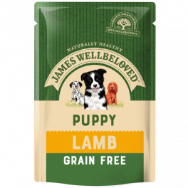 James Wellbeloved Grain Free Lamb Puppy/Junior Wet Dog Food Pouches x12