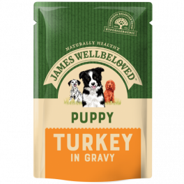 James Wellbeloved Puppy/Junior Turkey in Gravy Wet Dog Food Pouches x10