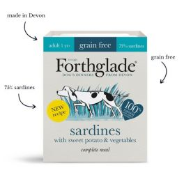 Forthglade Grain Free Wet Adult Dog Food with Sardines, Sweet Potato & Vegetables 395g