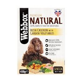 Webbox Premium Natural Senior Dog Food with Chicken and Vegetables 400g Tray