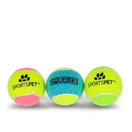 Sportspet Squeak Tennis Balls Dog Toy 3 Pack