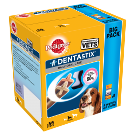 Pedigree Dentastix Dog Treats 56 Sticks for Medium Dogs (10-25kg)