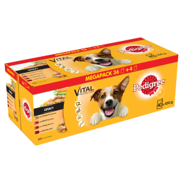 Pedigree Wet Adult Dog Food Pouches Megapack in Gravy 40x100g