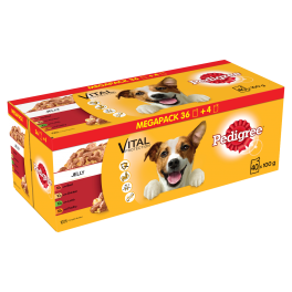 Pedigree Wet Adult Dog Food Pouches Megapack in Jelly 40x100g