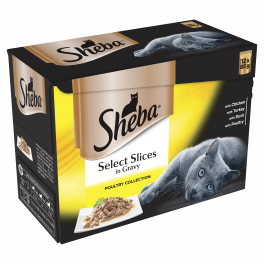 Sheba Adult Cat Food Pouches Select Slices Poultry Collection in Gravy 12x85g