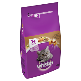 Whiskas Dry Cat Food 1+ Years with Duck & Turkey 2kg