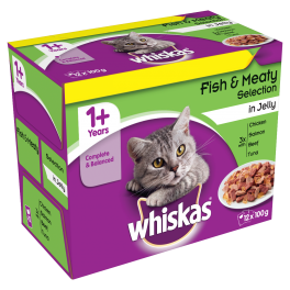 Whiskas Cat Food Pouches 1+ Years Fish & Meat Selection in Jelly (12x100g)