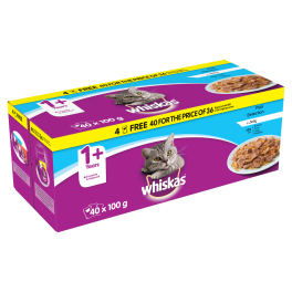 Whiskas Cat Food Pouches Fish Selection in Jelly (40x100g)