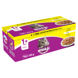 Whiskas Cat Food Pouches Poultry Selection in Jelly (40x100g)