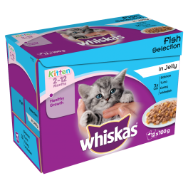 Whiskas Kitten Food Pouches Fish Selection in Jelly (12x100g)