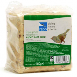 RSPB Mealworm Super Suet Cake Triple Pack Wild Bird Treat 960g