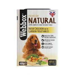 Webbox Premium Natural Adult Dog Food with Chicken and Vegetables 400g Tray