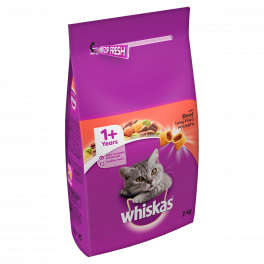 Whiskas Dry Cat Food 1+ Years with Beef 2kg