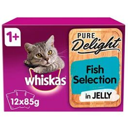 Whiskas Pure Delight Fish Selection Adult Wet Cat Food Pouches 12x85g