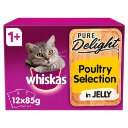 Whiskas Pure Delight Poultry Selection Adult Wet Cat Food Pouches 12x85g