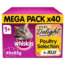 Whiskas Pure Delight Poultry Selection Adult Wet Cat Food Pouches 40x85g