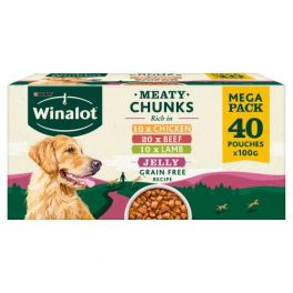 Winalot Grain Free Meaty Chunks In Jelly Dog Food Pouches 40x100g